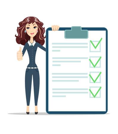 businesswoman with checklist. Ilustração