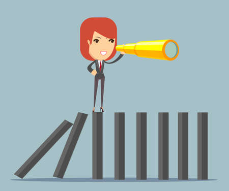 Businesswoman search strategy on domino Illustration