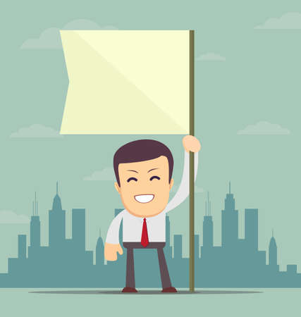 businessman holding white flag. Place for text Ilustração
