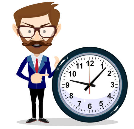 Human with clock. Young businessman in business concept isolated on white. Stock flat vector illustration.