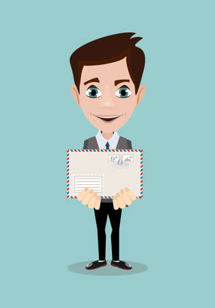Handsome businessman in formal suit holding an envelope with a letter. Illustration