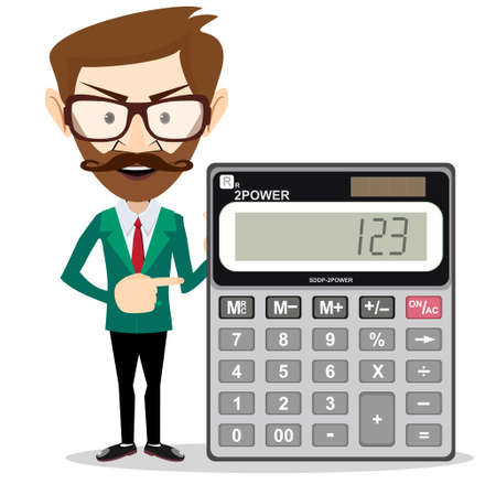 Mathematical Man Holding Calculator With Expression In A Financial Solution Concept Banco de Imagens - 79895514