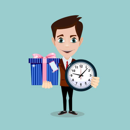 Man holding a Gift Box and a clock.