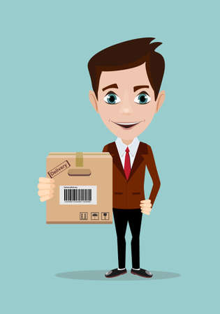 delivery service man with box Illustration