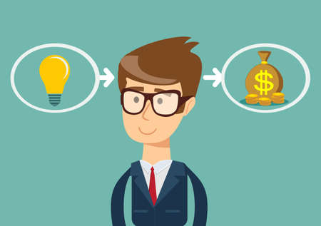 ideas are equal to money. the process of finding a solution. thinking or problem solving business concept
