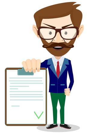 consult: Man in a suit holds Contract Illustration