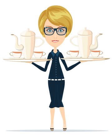 Waitress serving coffee or tea