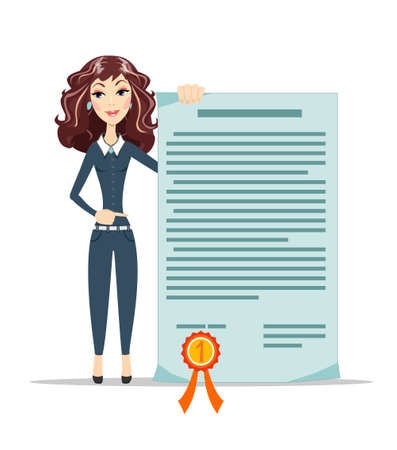 patent: Woman points to a certificate