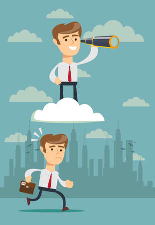 successful businessman with telescope on cloud