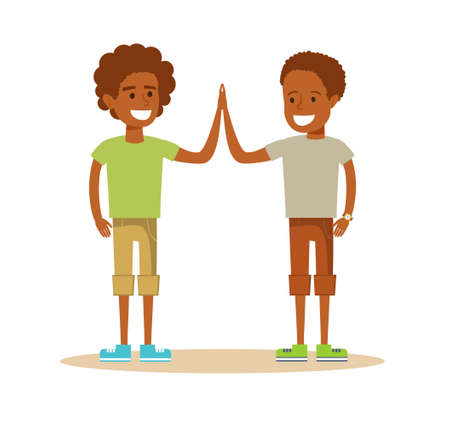 Pupils giving each other a high five. Illustration