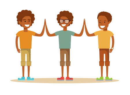 Three young African American boy giving each other a high five. Ilustração