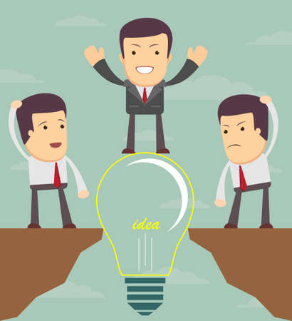 overcome: Businessman on a bulb helping a man to cross an abyss. Vector illustration