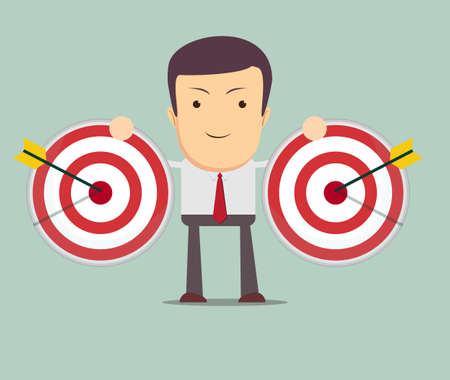accomplishments: Successful businessman aiming target with arrow