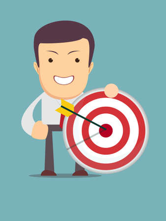 Successful businessman aiming target with an arrow