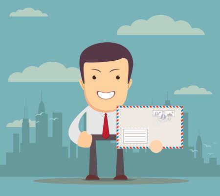financial adviser: Man in formal-wear is holding a envelope.