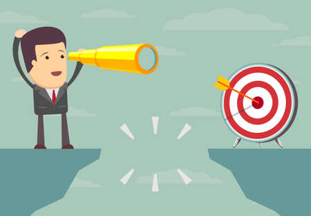 The difficulties on the road to success. businessman standing on the edge of the abyss and does not dare to continue the path, an employee is on the edge of the gap and think how to overcome it,