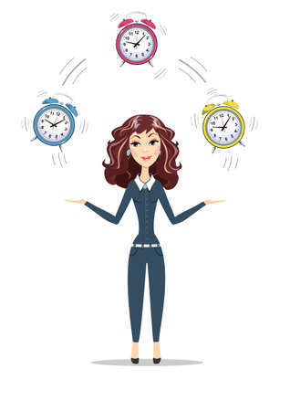 Business woman holding Time Stock Illustratie