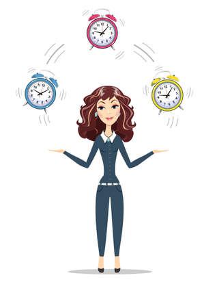 Business woman holding Time Çizim
