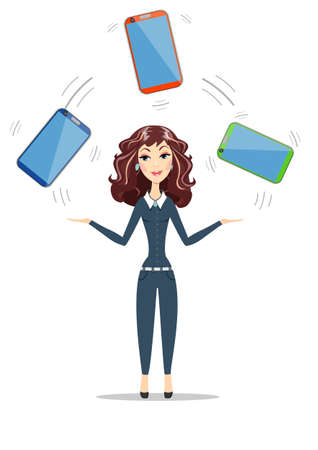 touch sensitive: Abstract businesswoman holding electronic gadget. Illustration
