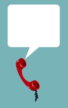 off the hook: Telephone handset with talk bubble. Vector illustration of retro phone on seamless geometric background