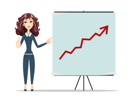 Businesswoman pointing to the board arrow Graph going up. Business concept Vector Poster presentation template illustration Illustration
