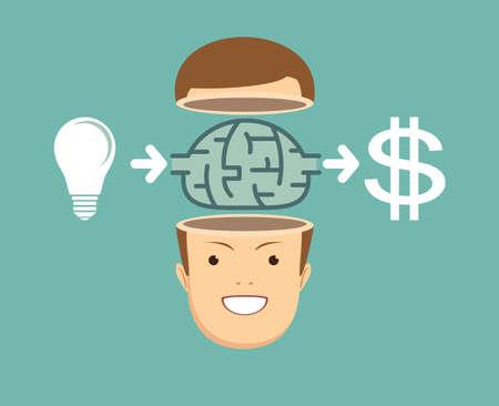 Businessman creates money from the idea.
