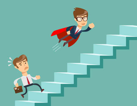 advantages: Super businessman in red cape flying pass another businessman climbing stairs. Business competition concept.