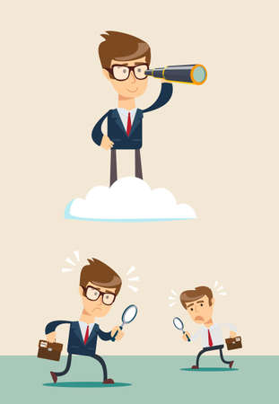 analyze: successful businessman with telescope on cloud above others .