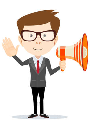 Young businessman with a megaphone. Illustration