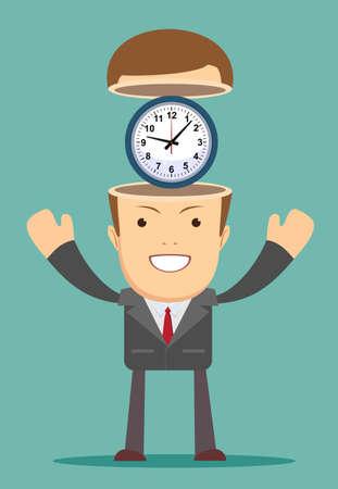 Zeitmanagementkonzept. Aufgeschlossener Mann mit Uhr nach innen.