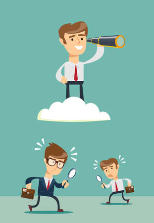 successful businessman with telescope on cloud above others . Business Vision Concept.