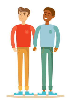interracial: Happy gay couple spending time together. Stock flat vector illustration.