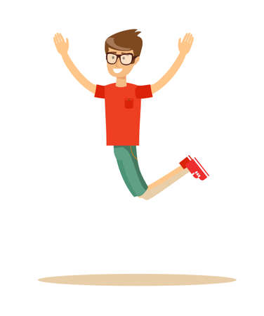 Active guy jumping in joy, isolated on white Illustration