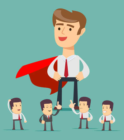 small business: Sketch of working little people and big superhero. Illustration