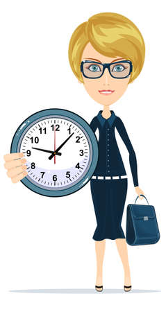 covering eyes: Woman Holding Clock, Indoor