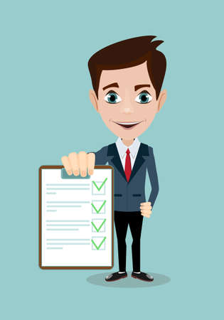 Businessman answers questions of interview. Concept of survey, questionnaire. Vector, illustration Çizim
