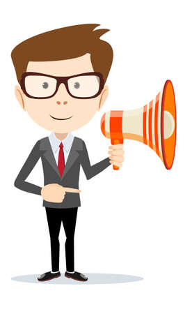 Young male entrepreneur with megaphone icon.