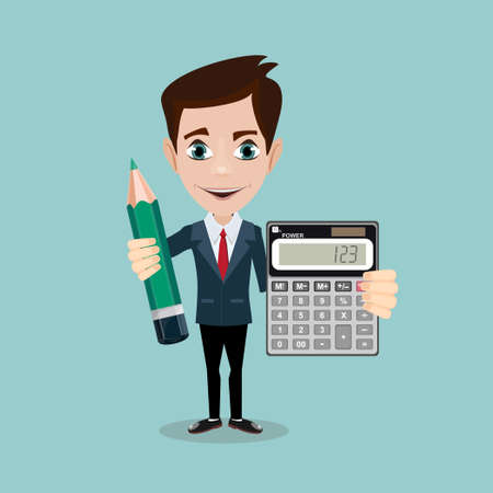 Funny office worker man - Accountant or manager shows the calculator to work on the background for use in presentations. Stock Vector illustration Illustration