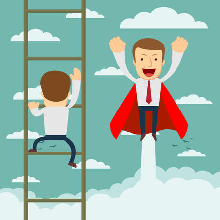 race winner: Businessman superhero fly pass businessman climbing the ladder.Business competition concept. Vector illustration. Illustration