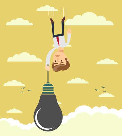 Sad businessman falling holding idea bulb as balloon . Stock flat vector illustration.