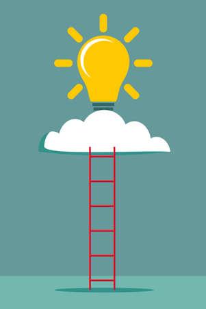 Ladder and cloud with idea light bulb. Success concept. Flat design. Vector illustration.