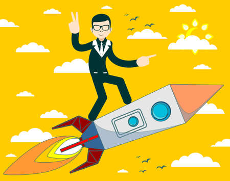 business flying: businessman flying on a rocket on sky background, business concept startup Illustration