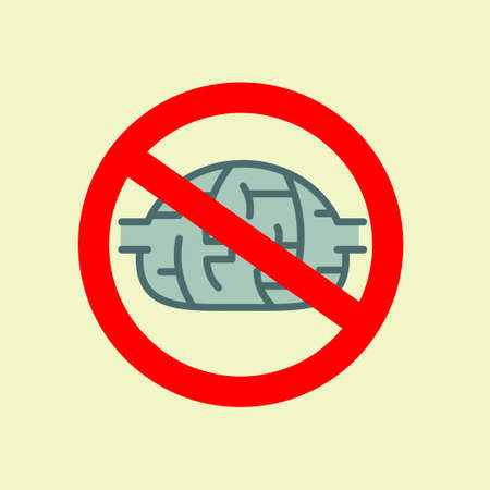 brilliancy: traffic sign with brain, concept of to deny the thinking. Stock flat vector illustration. Illustration