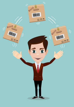 Smiling cartoon businessman juggling with a cardboard box vector illustration isolated on background.