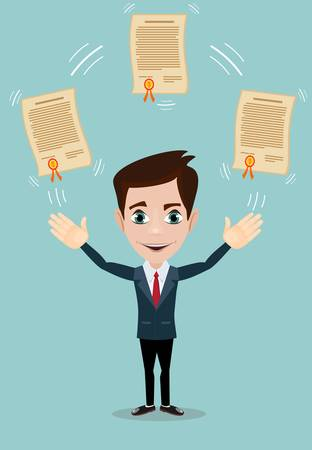guy standing: Vector illustration of businessman proudly standing and showing a diploma. Flat style