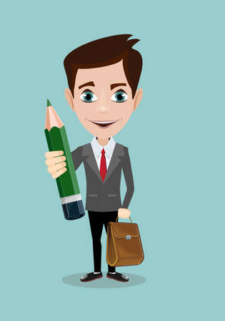 Handsome entrepreneur holding bag and pencil icon.