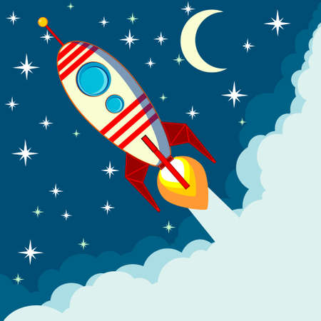 Space rocket flying in space with moon and stars on background print vector illustration Illustration