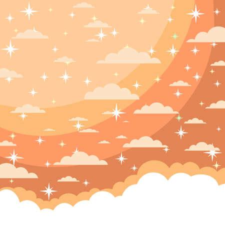 Stars in the night sky stock flat vector illustration.