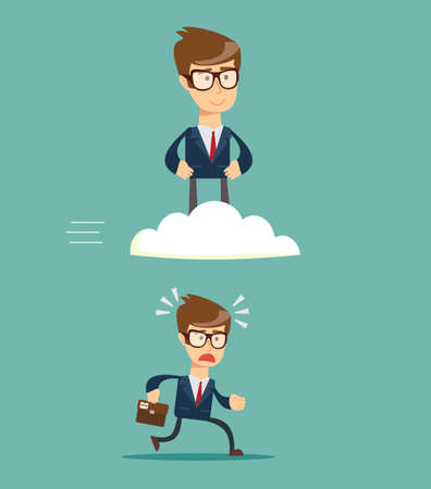 Business race. Successful businessman on cloud above others .