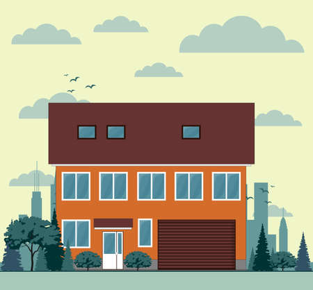 Residential Townhouses Architecture Icons vector. Traditional Housing design